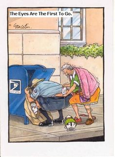 HomeCook'n Newsletter -- Humor: The Eyes are the First to Go, December 2003 edition. Funny Cartoon Pictures, Cartoon Jokes, Funny Cartoons, Funny Comics, Funny Jokes, Hilarious, It's Funny, Old Age Humor, Senior Humor