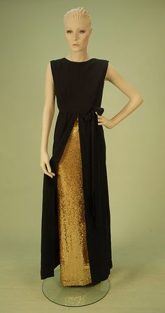 Norman Norell GOLD MERMAID GOWN with CREPE OVER-TUNIC, 1960's.