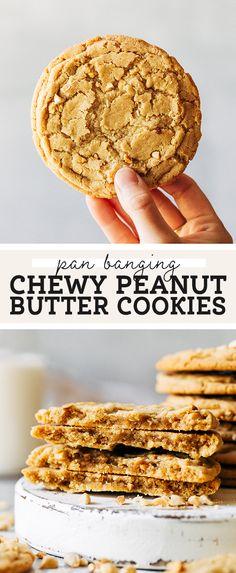Chewy Peanut Butter Cookies, Butter Cookies Recipe, Peanut Butter Recipes, Best Cookie Recipes, No Bake Cookies, Yummy Cookies, Chocolate Chip Cookies, Cookies Et Biscuits, Dessert Recipes