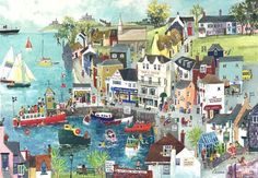 """""""Visiting St Mawes on the Ferry"""" Original Painting by Serena, Cornish Naive Artist. Available as prints and blank art-cards. Artist Painting, Painting & Drawing, Watercolour Painting, Illustrations, Illustration Art, Gouache, Seaside Art, Naive Art, Teaching Art"""