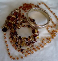 Vintage Amber and Gold tone bracelets 3 and by WeeLambieVintage, $16.00