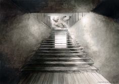 Beautiful architectural charcoal rendering, there are very dark darks and light lights which depicts the scene very well