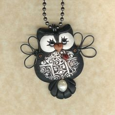 polymer clay Hooty Owl Necklace by freeheart1