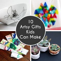 10 Artsy Gifts Kids Can Make - Skip the hustle and bustle and break out the art supplies instead! Your little artist will love making these handmade gifts that are sure to be cherished for years to come. The prefect gift: simple, fun, and heart felt!