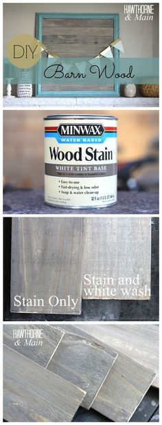 DIY BARN WOOD :: She stained a piece of scrap board with Minwax white tint base wood stain in Slate and realized it was a bit too dark for her liking so she mixed the stain 50/50 with water which made a big difference. She let it dry over night and the next day used some ASCP in Pure White to white wash over the wood (mixing 1-2 Tbsp. with 1 cup water). She brushed it on then wiped it off with a paper towel. :: CLICK or here's another link…