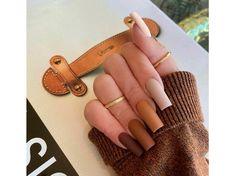 Brown Acrylic Nails, Halloween Acrylic Nails, Simple Acrylic Nails, Brown Nails, Best Acrylic Nails, Brown Nail Art, Acrylic Nails Autumn, Cute Halloween Nails, Fall Gel Nails