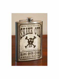 SNAKE OIL  Stainless Steel Flask   8oz. van trixieandmilo op Etsy, $29.00