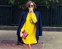 the glamourai, l.a.m.b. navy jacket, yellow zara dress, red clutch, street style