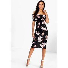 Boohoo Night Jessica Floral Oversize Bardot Midi Dress ($30) ❤ liked on Polyvore featuring dresses, black, bodycon maxi dress, midi dress, party dresses, floral midi dress and bodycon dress