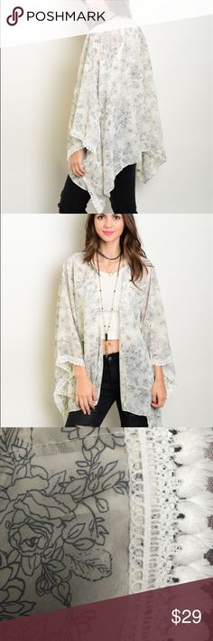 """Flowery Cardigan Wear with a dress, over a bikini or as shown, this piece will spice up any look!  Fabric Content: 100% POLYESTER Description: L: 25"""" B: 32"""" W: 32""""  ❌Trades / Offers  Bundles Encouraged Sweaters Cardigans"""