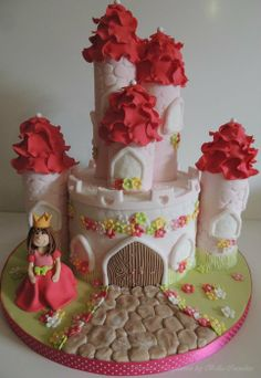 Princess Castle Cake...love the petals on top of the towers...too cute!