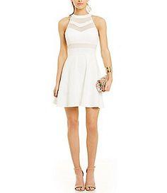 f418df9e7 Short Juniors Homecoming and Party Dresses. Mini Skater DressIllusion ...