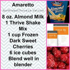 THRIVE by Le-Vel: The health & wellness movement, Thrive Experience Almond Milk Smoothie Recipes, Healthy Smoothies, Healthy Drinks, Get Healthy, Healthy Recipes, Drink Recipes, Healthy Foods, Easy Recipes, Thrive Shake Recipes