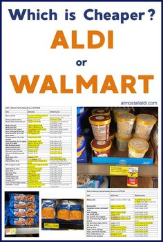 Is ALDI cheaper than Walmart? Find 2019 price comparison charts, and see how prices have changed since the last ALDI vs Walmart price comparison in Aldi Prices, Aldi Shopping List, Cheap Grocery List, Shopping Tips, Cheap Meal Plans, Aldi Meal Plan, Cheap Meals For Two, Inexpensive Meals, Recipes