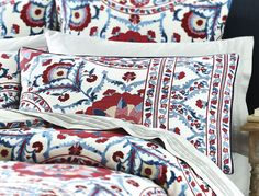 Inspired by an intricate and decorative tribal textile from the Sanderson archives, the handcrafted feel of the original textile has been beautifully captured in the Anthos quilt cover.  Printed on textured cotton.