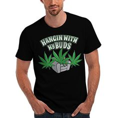 Wellcoda | Hanging With My Bud Mens NEW Weed Culture Black T-shirt S...