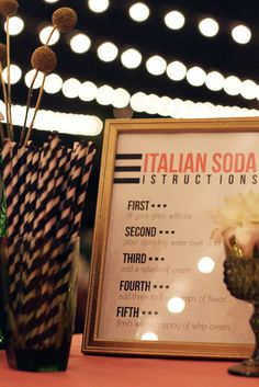 Italian soda bar with instructions. Love this!