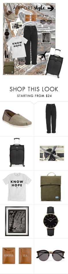 """""""coffee or tea?"""" by xanthik ❤ liked on Polyvore featuring Oliver Gal Artist Co., TOMS, Topshop, Antler, Home Decorators Collection, CLUSE, Bloomingville, Illesteva, comfort and travel"""