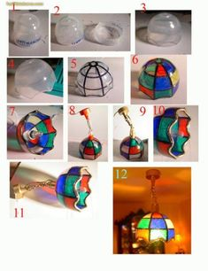 Lámpara realizada con plástico