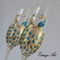 Wedding Toasting Flutes, Hand Painted Glasses, Peacock Wedding, Anniversary Gift, Set of 2