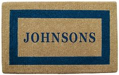 NEDIA Enterprises Blue Personalized Picture Frame Coir Mat | seattleluxe.com