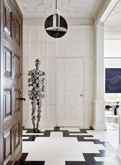 Jacques Grange Designs a Fifth Avenue Apartment for Collector Stacey Bronfman - Galerie Antony Gormley, Architectural Digest, Marble Floor, Higher Design, Best Interior Design, Modern Interior, Fireplace Design, Floor Design, Hanging Lights