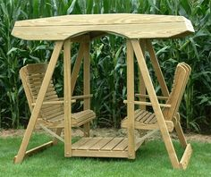 Amish Pine Wood Contour Highback Double Lawn Swing With Roof