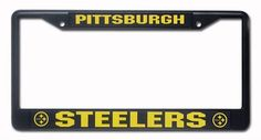 Pittsburgh Steelers Chrome Frame (Black) Chrome license plate frame with team name and logo Easy to mount around just about any license plate Zinc metal frame resistant to the elements License Plate Frames, Team Names, Pittsburgh Steelers, Black Metal, Chrome, Plates, Nfl, Steel Wheels, Logo