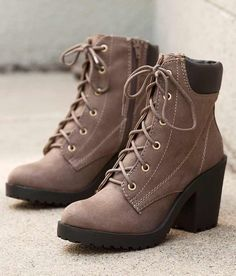 Soda Keelo Boot - Women's Shoes in Deep Taupe Lace Up Shoes, Cute Shoes, Me Too Shoes, Women's Shoes, Faux Fur Boots, Suede Boots, Laced Boots, Short Brown Boots, Combat Boots Style