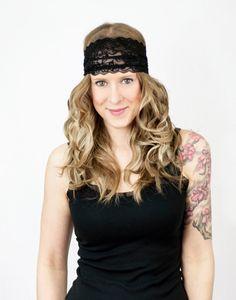 Black Lace Headband Wide Stretch Women's by ForgottenCotton, $15.00