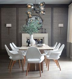 Gather everyone you love around your table in the dining room and make them feel like they are in the most beautiful place ever! Home Decor ideas has the best tips for you to create a luxurious and modern dining room. Decor, Modern Dining, Interior, Modern Dining Room, Dining Table, Dining Chairs, Interior Design, Dining Room Furniture, Grey Dining Room