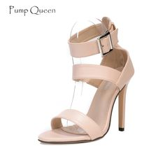 Strap High Heels Women Sandals 2018 Summer Shoes for Woman Buckle Female  Casual Apricot Black Sandalia Feminina. d4724c1a2c41