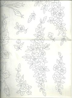 Floral Embroidery Patterns, Hand Embroidery Stitches, Hand Embroidery Designs, Embroidery Techniques, Tambour Embroidery, Ribbon Embroidery, Calligraphy Borders, Motifs Perler, Brazilian Embroidery