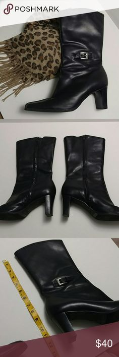 """🐯Bass Heeled Boots ~ Leather Bass Heeled Boots ~ Leather """"Belinda"""" Made in Brazil.  Sturdy Classy Boots!  Excellent condition but has a couple minor scuffs.  Last pic is from online search but same boots. Bass Shoes Heeled Boots"""