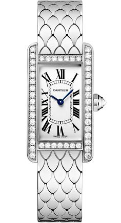Order spectacular Cartier Tank Americaine Small Model Diamond White Gold Case Bracelet Womens Watch with fast worldwide delivery Cartier Watches Women, Cartier Men, Watches For Men, Women's Watches, Cheap Watches, Fashion Watches, Cartier Tank Americaine, Brand Name Watches, Gold Diamond Watches