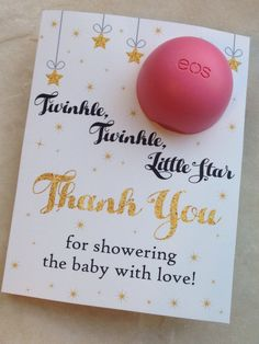 Twinkle, twinkle little star baby shower favor printable, EOS lip balm cards, instant download,moon,stars, sky, thank you,ivory, gold, black