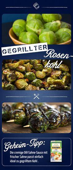 Gegrillter Rosenkohl schmeckt einfach nur köstlich als Grillbeilage zu Fleisch. Die feine Dill-Sahne Sauce verleiht dem Rosenkohl eine besonders feine Note.