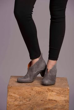 Grey Leather Booties / Women Gray High Heels Boots / Caual Shoes / Lacing Shoes / Winter Booties / Leather Shoes / Wood Heel Shoes- Alpha