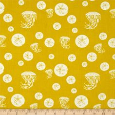 Birch Organic Charley Harper Maritime Sand Dollar and Jelly Yellow from @fabricdotcom  Designed by Charley Harper for Birch Organic Fabric, this nautical themed GOTS certified organic cotton print fabric is perfect for quilting, apparel and home décor accents. Colors include yellow and off-white.