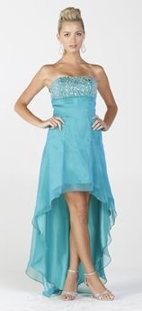 2 Tone Chiffon Mint Blue High Low Formal Dress Strapless Beaded Top (7 Colors Available)