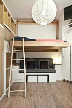 Dorm room ideas loft bed for small rooms stylish space saving Murphy Bed Ikea, Murphy Bed Plans, Murphy Bed Couch, Bedroom Loft, Home Decor Bedroom, Loft Beds, Bedroom Ideas, Bunk Beds, Bedroom Storage