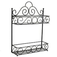 Scroll 2-Tier Wrought Iron Metal Wall-Mounted Multi-purpose Bathroom Kitchen Storage Hanger Holder(Black) (i LIKE THIS BETTER FOR CORALEE'S HAIR PRODUCTS ETC.. GET S THEM OFF THE COUNTER! =)