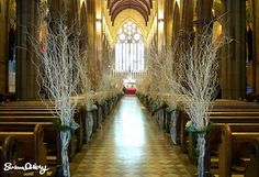 Spray painted branches - church wedding decor