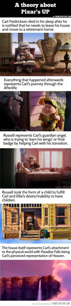 "I watched Up with this in mind.  Chad pointed out that when Carl first meets Russell, Russell is asking him if he can help him cross the road, cross the yard, cross his living room… then when he's turned down, he gets flustered, ""Well, I have to help you cross SOMETHING."" Yeah.  Boom.  Mind blown."