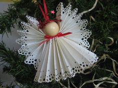 Angel Christmas Ornament White Paper Lace Ribbon by SnowNoseCrafts, $4.00