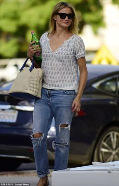 Party time: Cameron Diaz pops to the spa for a bit of pampering ahead of Gwyneth Paltrow's...