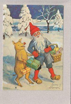 Jenny Nyström -- Pukki possu ja lahjat - Huuto.net Father Christmas, Christmas Cards, Scandinavian Holidays, Garden Gnomes, Elves And Fairies, Vintage Christmas Images, Penny Black, Vintage Cards, Vintage Postcards