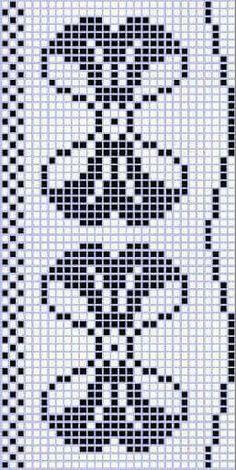 Curtain with bow and tulips filet patten 1 - Salvabrani Crochet Patterns Filet, Crochet Bikini Pattern, Crochet Mandala Pattern, Beading Patterns, Cross Stitch Patterns, Knitting Patterns, Ribbon Embroidery, Embroidery Stitches, Embroidery Patterns