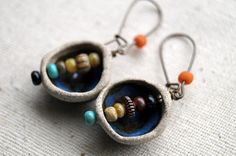 Pod Earrings  Ceramic Tribal Earrings  by BeadSoupJewelry on Etsy, $28.00