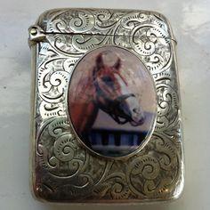 English Solid Silver Vesta Case with Enamel Horse